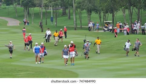 KUALA LUMPUR, MALAYSIA, OCTOBER 29, 2017 : Golfer player walking during last day of the Sime Darby LPGA Malaysia at TPC Kuala Lumpur East Course