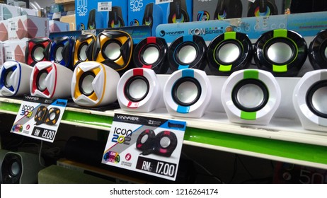 Kuala Lumpur, Malaysia - October 30,  2018; View of Computer speakers with subwoofer sale in the supermarket shelf.