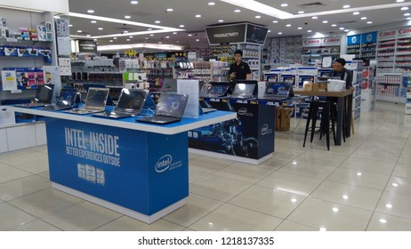 Kuala Lumpur, Malaysia - October 30, 2018 : Various type of technology brand for sale at Lowyat Plaza. Lowyat Plaza is a shopping centre specializing in electronics and IT products.