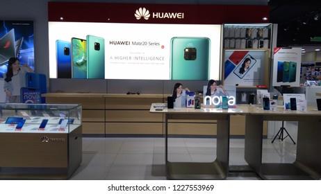 KUALA LUMPUR, MALAYSIA - October 30, 2018: A Huawei Mate 20 smartphone at an Huawei store in Kuala Lumpur, Malaysia.