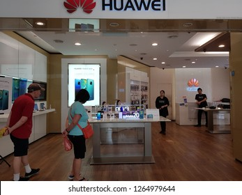 Kuala Lumpur, Malaysia. October 30, 2018. Customers browsing the latest smartphone model at authorised Huawei outlet in Surai Mall KLCC