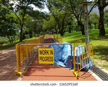 Kuala Lumpur, Malaysia. October 30, 2018. Barricade in KLCC Park marking an area that closed for maintenance