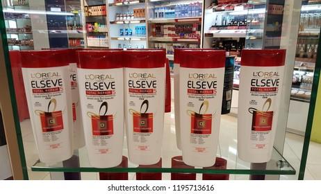 Kuala Lumpur / Malaysia - October 4 2018: Loreal Elseve total repair products