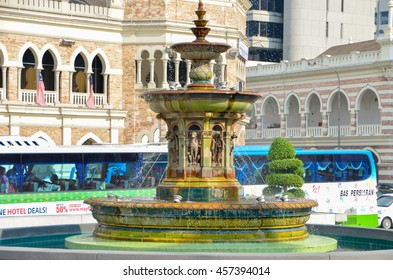 Kuala Lumpur, Malaysia - October 4, 2013:water Fountain in Merdeka Square in Kuala Lumpur Malaysia. Merdeka Square is a popular tourist attraction in front of the Sultan Abdul Samad Building.