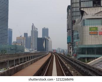Kuala Lumpur, Malaysia. October 5, 2018. Light Rail Transit (LRT) track of Rapid KL one of the main rail system in Kuala Lumpur, spanning across Klang Valley