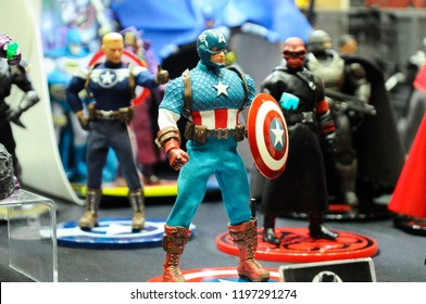 KUALA LUMPUR, MALAYSIA - OCTOBER 6, 2018: Fictional character action figure Captain America from Marvel comics & movies. The action figure displayed by collector for public.
