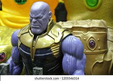 KUALA LUMPUR, MALAYSIA -OCTOBER 6, 2018: Selected focused of Thanos supervillain character action figure from Marvel comics and movies. Displayed by collector for public.