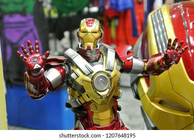KUALA LUMPUR, MALAYSIA -OCTOBER 6, 2018: Selected focused of IRON MAN character action figure from Marvel Iron Man comics and movies. Displayed by collector for public.