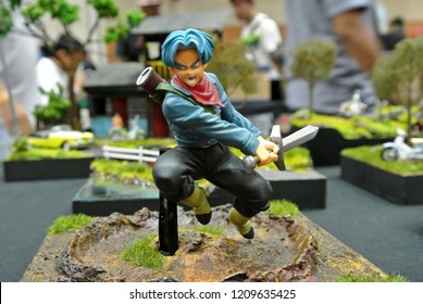 KUALA LUMPUR, MALAYSIA -OCTOBER 6, 2018: Selected focused of model scale action figures characters from popular Japanese animated series Dragonball. Display by collector and fan on the table.