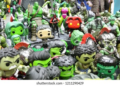 KUALA LUMPUR, MALAYSIA -OCTOBER 6, 2018: Selected focused of Hulk character action figures from Marvel Comic. The action figures come with a variety of hulk characters