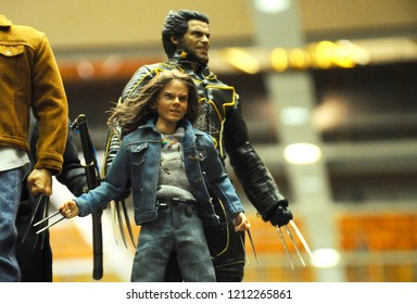 KUALA LUMPUR, MALAYSIA -OCTOBER 6, 2018: Wolverine action figure display by collector for public. Wolverine is a fictional character appearing in American comic books and movie published by Marvel.