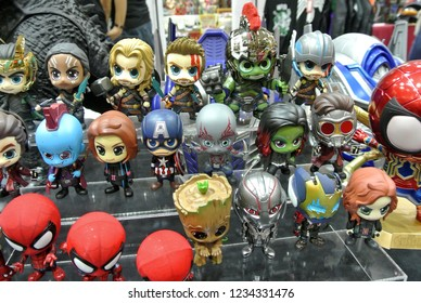 KUALA LUMPUR, MALAYSIA -OCTOBER 6, 2018: Selected focused of cute and small Avengers superhero character action figure from Marvel Iron Man comics and movies. Displayed by collector for public.