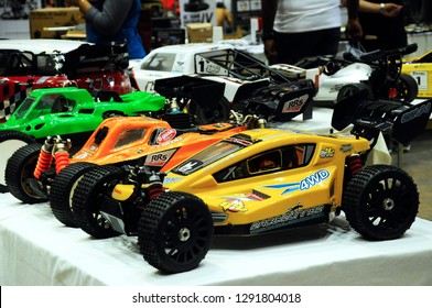 KUALA LUMPUR, MALAYSIA -OCTOBER 6, 2018: Remote control car customized by its owner. Ready to enter the remote control car race tournament.