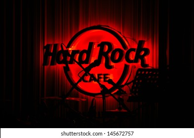 KUALA LUMPUR, MALAYSIA - OCTOBER 7: Red Glowing Hard Rock Cafe logo on October 7, 2012, in Kuala Lumpur, Malaysia. Hard Rock Cafe is a popular restaurant all across the Globe.