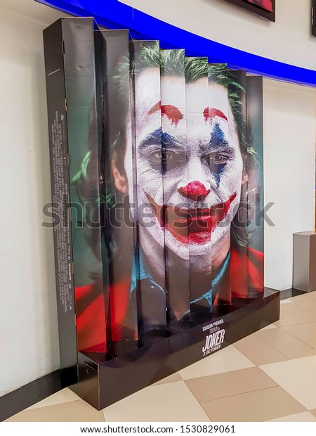 KUALA LUMPUR, MALAYSIA - OCTOBER 7, 2019: Joker movie poster, is a 2019 American psychological thriller film directed by Todd Phillips based on DC comics character starring Joaquin Phoenix