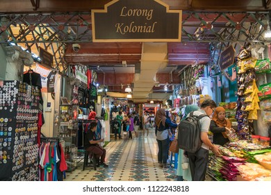 Kuala Lumpur, Malaysia - October 7,2017 : People can seen exploring and shopping around the Central Market. It is a cultural heritage site with restored art deco facade offering shopping and eateries.
