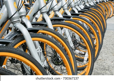 Kuala Lumpur, Malaysia - October 7,2017 : A row of obike are parking in Pasar Seni. oBike is first stationless smart bike share system in Malaysia, it providing the freedom of riding anytime anywhere.