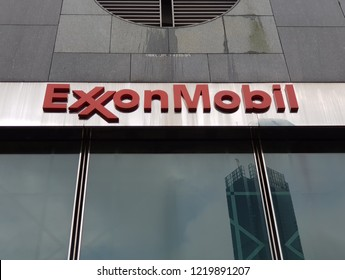 "Kuala Lumpur, Malaysia. October 8, 2018. Exxonmobil building in Malaysia also known as ""Menara ExxonMobil"" has been vacated  half of its tenancy in order to lower its operating cost due to oil turmoil"