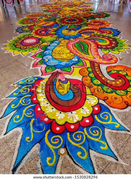 KUALA LUMPUR, MALAYSIA - OCTOBER 8, 2019: Diwali Rangoli decoration at Midvalley Mall. Rangoli is an art form from India in which patterns are created using colored rice usually made during Diwali