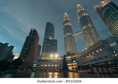 Kuala Lumpur, Malaysia - The Petronas Twin Towers at night time atmosphere on November 23, 2015, The world's tallest Twin Towers.