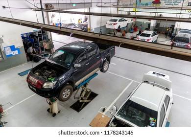 Kuala Lumpur, MALAYSIA - Sep 12, 2018: Interior of a car repair shop at Toyota car service center at Selayang, Kuala Lumpur.