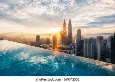 KUALA LUMPUR, MALAYSIA - SEP 15: Petronas Twin Towers at sunset on SEP 15, 2016 in Kuala Lumpur.