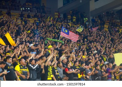 KUALA LUMPUR, MALAYSIA SEPT 10, 2019 Unidentified Malaysia fans during the FIFA World Cup Qatar 2022 and AFC Asian Cup China 2023 Qualification matches between Malaysia and UAE at Bukit Jalil Stadium