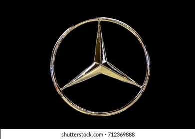 KUALA LUMPUR, MALAYSIA - SEPT 10, 2017 : Close up image of Mercedes-Benz car logo. Mercedes-Benz is a global automobile manufacturer and a division of the German company Daimler AG.