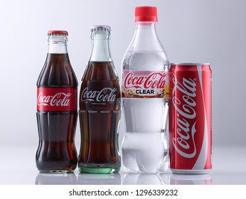 kuala lumpur, malaysia sept 14th 2018 clear coca cola and classic coca cola on the white backkground