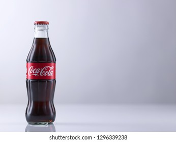 kuala lumpur, malaysia sept 14th 2018 coca cola on the white backkground