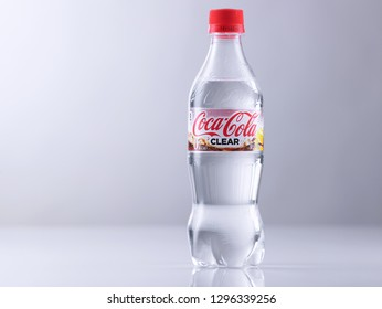 kuala lumpur, malaysia sept 14th 2018 clear coca cola on the white backkground