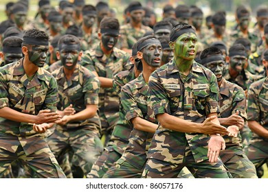 KUALA LUMPUR, MALAYSIA - SEPT. 30: Jebat Battalion group performs war dance at Convocation Festival at National Defense University Of Malaysia, Kuala Lumpur, Malaysia on September 30, 2011.