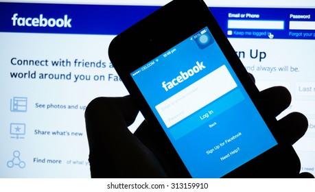 KUALA LUMPUR, MALAYSIA - SEPTEMBER 04, 2015: Photo of Facebook homepage on a Iphone monitor screen.