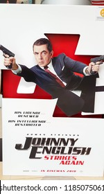 KUALA LUMPUR, MALAYSIA - SEPTEMBER 14, 2018: Johnny English Strikes Again movie poster, this movie is about undercover agent played by Rowan Atkinson