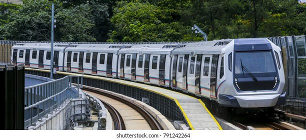 KUALA LUMPUR, MALAYSIA - SEPTEMBER 14, 2017 : Malaysia MRT (Mass Rapid Transit) train, a transportation for future generation. MRT also bring Malaysia as a developed country.