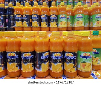 Kuala Lumpur, Malaysia - September 15,2018 : SUNQUICK bottle's fruit juices neatly arranged in a supermarket shelves with selective focus and crop fragment