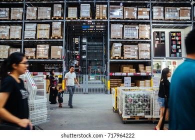 Kuala Lumpur, Malaysia - September 16, 2017: Warehouse storage in an IKEA store. Founded in 1943, IKEA is the world's largest furniture retailer. IKEA operates 351 stores in 43 countries.