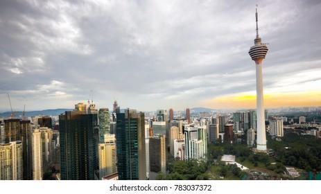 KUALA LUMPUR MALAYSIA SEPTEMBER 20 2017: KL Tower and city skyline at sunset