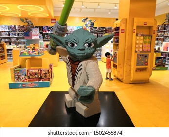 Kuala Lumpur , Malaysia - September 2019: Lego Yoda statue display in toy store at shopping mall . Lego System A/S, doing business as The Lego Group, a Danish family-owned company based in Denmark.