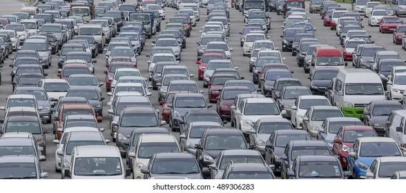 KUALA LUMPUR, MALAYSIA - SEPTEMBER 21, 2016 : Cars on highway in traffic jam during peak hour.