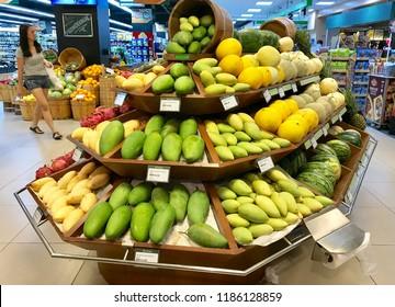 Kuala Lumpur, Malaysia - September 22, 2018 : Various fresh fruit on the shelf in Supermarket.