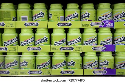Kuala Lumpur, Malaysia - September 22, 2017 : Wrigley's Doublemint is a brand name of chewing gum flavour on the shelf in the supermarket.