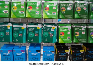 KUALA LUMPUR, MALAYSIA - SEPTEMBER 23, 2017: Kaspersky products display on shelf in Kuala Lumpur. Kaspersky is a antivirus software, Founded in Moscow, Russia since 1997.