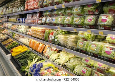 Kuala Lumpur, Malaysia - September 24, 2017 : Fresh vegetables in a box on a shelf in a supermarket