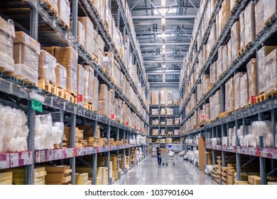 Kuala Lumpur, Malaysia - September 24th,  2017:  Warehouse storage in an IKEA store in Kuala Lumpur, Malaysia. The company was found in Sweden in 1943. IKEA is the world's largest furniture retailer.
