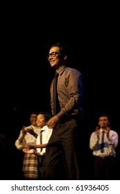 KUALA LUMPUR, MALAYSIA - SEPTEMBER 28 : Actor Zizan Nin, who plays the role of Malaysia's former PM Mahathir Mohamad, during Tun Mahathir The Musical September 28 2010 in Kuala Lumpur, Malaysia.