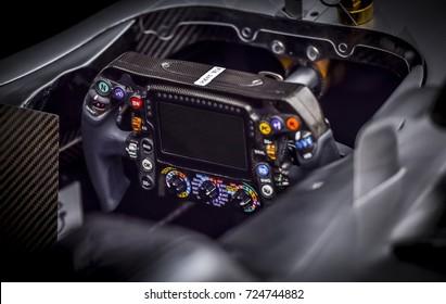 KUALA LUMPUR, MALAYSIA - SEPTEMBER 28, 2017 : Valtteri Bottas steering wheel Mercedes AMG Petronas Motorsports.