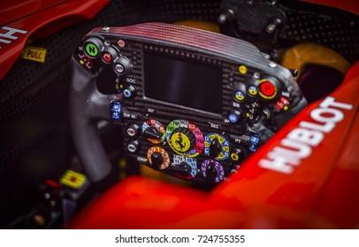 KUALA LUMPUR, MALAYSIA - SEPTEMBER 28, 2017: Sebastian Vettel steering wheel Scuderia Ferrari F1 Team.