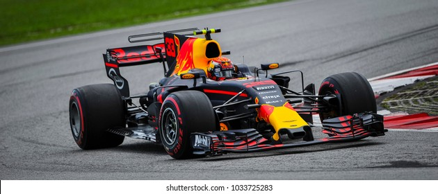KUALA LUMPUR, MALAYSIA - SEPTEMBER 29, 2017 : Max Verstappen of the Netherlands driving Red Bull Racing Red Bull-TAG Heuer RB13 TAG Heuer on track during Malaysia Formula One Grand Prix at Sepang