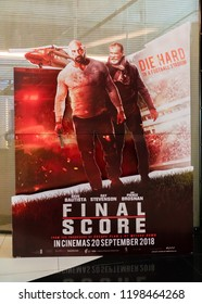 KUALA LUMPUR, MALAYSIA - SEPTEMBER 29, 2018:  Final Score movie poster. This movie is about ex-soldier with lethal fighting skills wages a one-man war to save her and prevent mass destruction